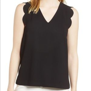 CeCe by Cynthia Steffe Scallop Edge Top in Black